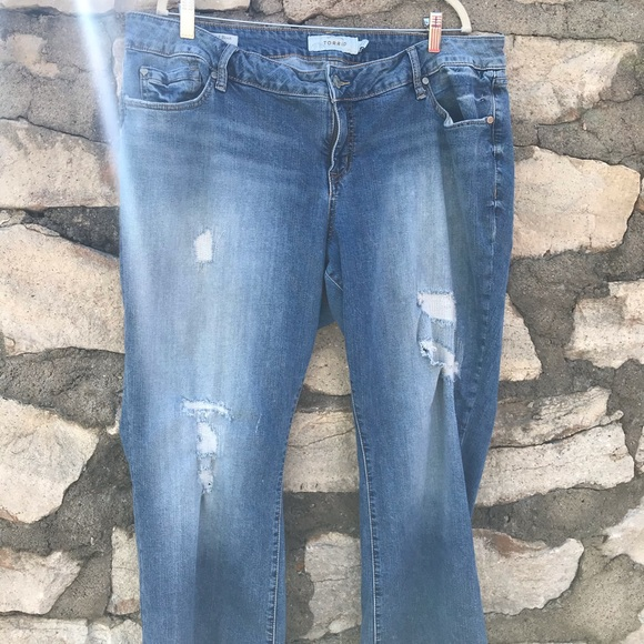 Torrid 20 Distressed Relaxed Boot Cut Jeans